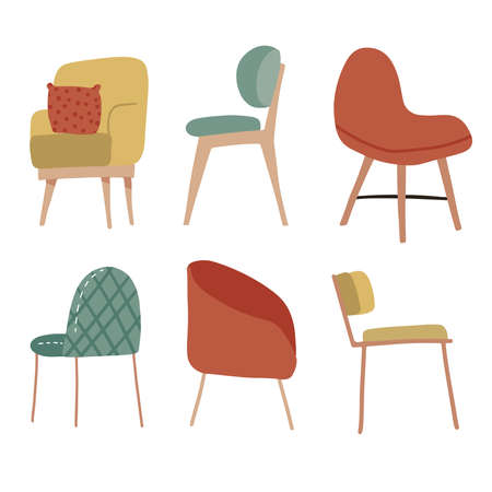 Set of hand drawn cosy soft chairs. Collection of Scandinavian places. Vector flat hand drawn illustration.