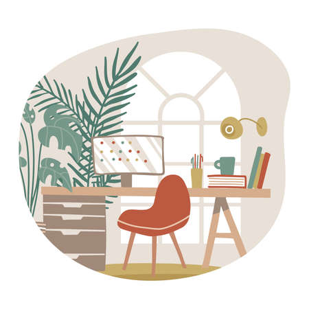Living room home interior isolated concept, hygge workspace with window, table, chair, screen for freelance work. Home office. Flat hand drawn illustration. 일러스트