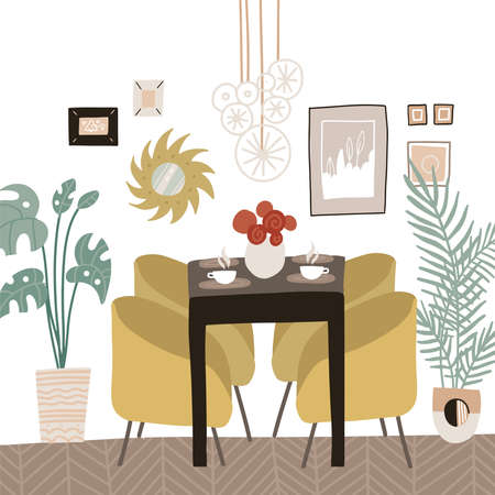 Contemporary dining room or kitchen. Scandinavian interior design with table and soft chairs. Desk with decorative vase with flowers. Simple eating area, decor, houseplants. Vector flat illustration.
