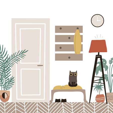 Hall interior - cozy scandinavian furniture with closed door. Hallway with potted plants and cat. Flat cartoon style vector illustration. 일러스트