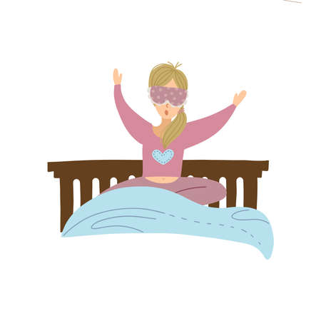 Young woman goes to bed or waking up. Blond girl yawning and sleepy. Female character in the dressing for sleep with face mask. Isoleted Vector flat hand dtawn illustration.