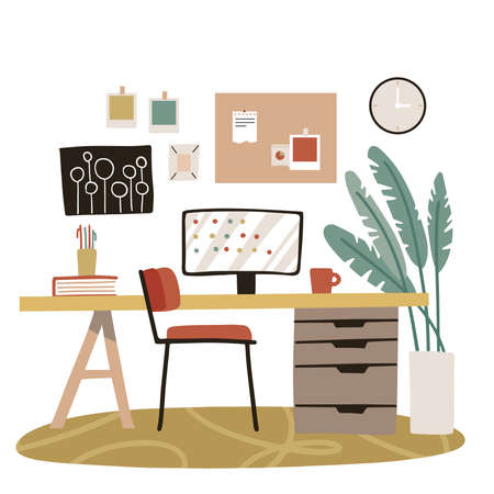 Modern home office interior design with simple furniture and elements. Armchair, palm plant, mood board, clock isolated on white background. Workspace elements vector flat illustration.
