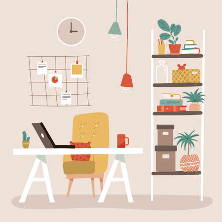 Comfy office workplace with table, bookcase, shelves stand with books, mood board. Design for web site, banner, brochure for business. Vector hand drawn flat illustration in scandinavian style.