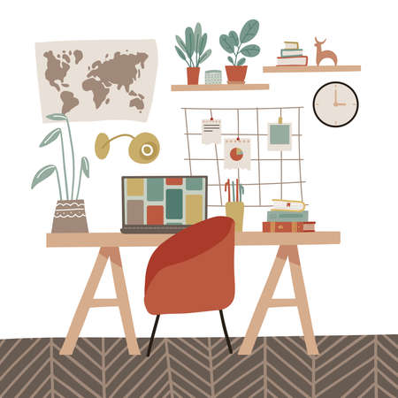 Stylish modern comfy cabinet interior furnished with home decorations. Feminine mood board, writing desk with books, laptop and home plants. Scandinavian hygge style Interior. Flat vector illustration 일러스트