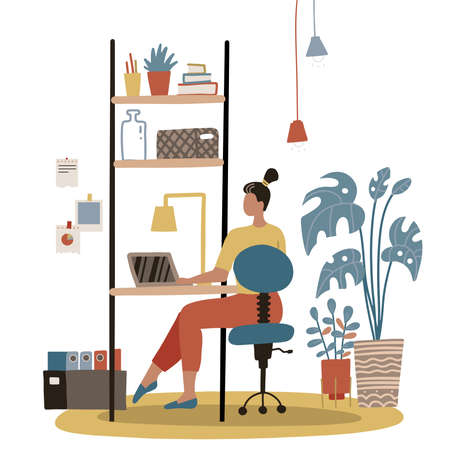 Freelance work at home. Concept with a woman, female worker sitting at the laptop at home. Cozy lagom furniture with plants. Flat vector hand drawn illustration.