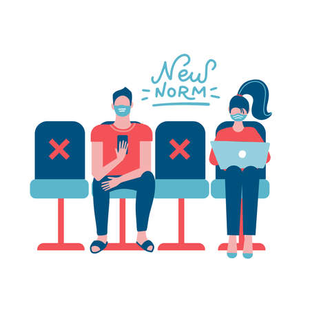 New normal concept - physical distancing people. Man and woman sitting on distance from each other and wearing face mask prevention from disease outbreak. COVID-19 pandemic. Flat Vector illustration.