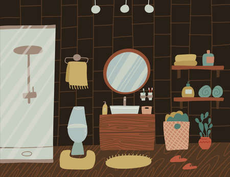Stylish dark wooden Scandinavian bathroom interior - tap, shower, toilet, sink, home decorations. Cozy modern comfy apartment furnished in Hygge style. Vector flat illustration