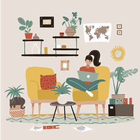 Female freelancer is sitting in armchair with laptop at home. Remote work concept. Interior of room with furniture, shelf, picture in frame, houseplants. Employee working on task at home. Flat vector 일러스트