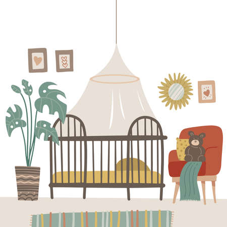 Child room in pastel colors for the newborn baby. Baby room with furniture. Nursery interior with babycot, armchair and plant. Vector flat hand drawn illustration.