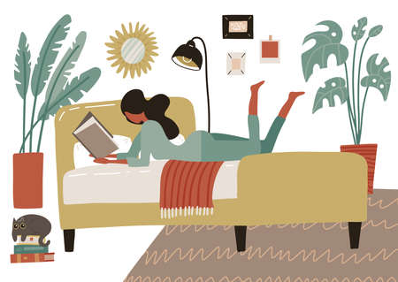 Woman lying on bed in home bedroom and reading a book. Playfully shaking legs. Big soft double bed in room interior with houseplants. Flat style vector illustration isolated on white background.