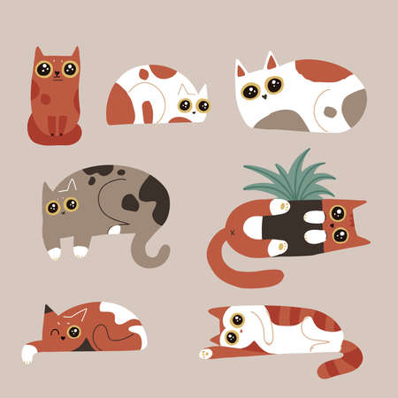 Set of funny humor cat characters. Spotted cats with big eyes collection. Lying kitties. Simple vector hand drawn flat illusration. 일러스트