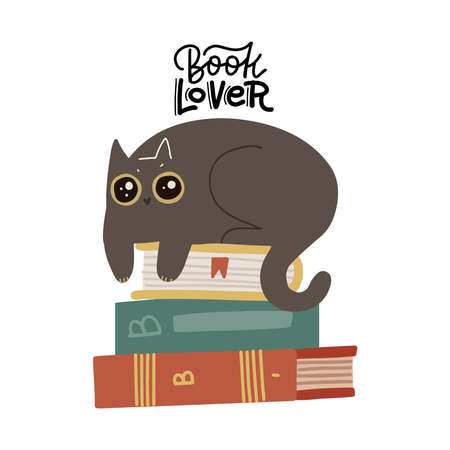 Cute funny cat luing on book stack, with quote - Book lover. Isolated objects on white background. Scandinavian style flat design. Concept for children print. Hand drawn flat vector illustration 일러스트