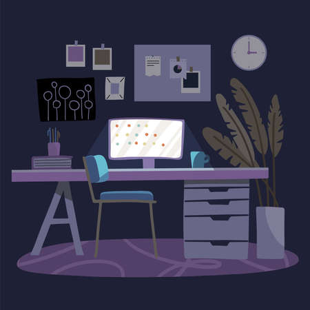 Workplace with lighting computer screen, books, plant and cup on the table. Dark purple background. Night office room. Vector flat hand drawn illustration.