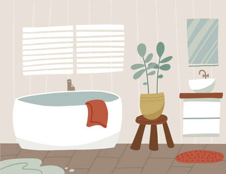 Scandinavian bathroom interior besign with bathtub, washbasin, mirror, towels. Uncleaned room with scattered towels and a puddle. Flat vector illustration