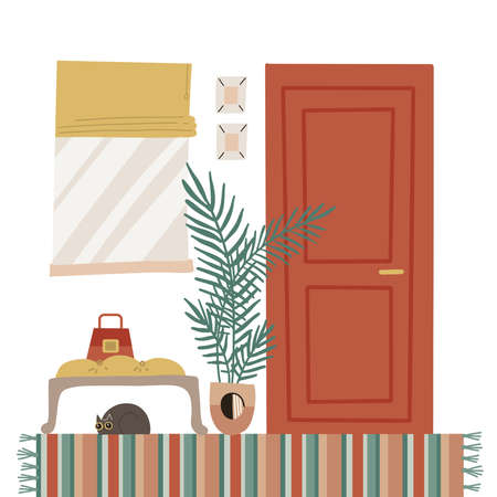 Cozy home entrance hall interior with furniture - closed door, window, plant, carpet, banquet with cat. Flat cartoon style vector illustration in Scandinavian style.
