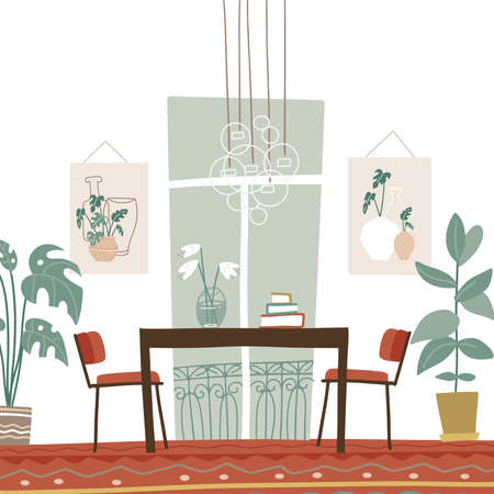 Modern elegant dining room interior with table and chairs, paintings, french window, big indoor plants. Vector illustration flat boho style. 일러스트