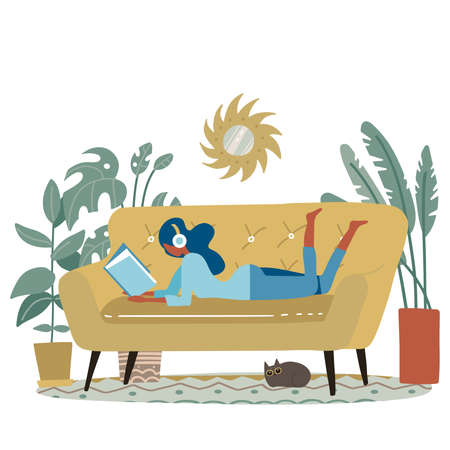 Beautiful woman reading a book or studying lying on the yellow modern sofa. Small cat sleeps nearby. Flat cartoon illustration with pretty girl on couch and plants isolated on white background. 일러스트