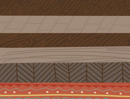 Set of six different color wooden parquet texture for floor. Elelements for interior conctructor. flat vector illustration in hand drawn Scandinavian style.