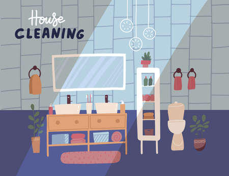 Cleaning service banner. Spring cleaning house. Apartment bathroom interior clean and dirty. Housekeeping company concept. Flat vector illustration. 일러스트