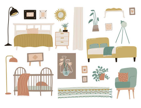 Bedroom furniture set. Interior design home elements collection. Scandinavian modern concept of bed, plant, tripod lamp, armchair, rug and baby cot. Flat vector illustration 일러스트