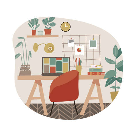 Workplace in scandinavian style. Cozy home with parquet and modern furniture. Studying or craft workspace. Freelance work on maternity leave. Flat vector illustaration. 일러스트