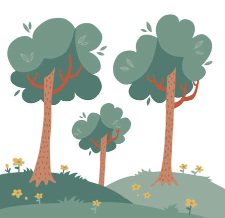 Landscape with tall trees on green grass woth flowers. Deciduous plants. Summer background. Vector flat hand drawn illustration