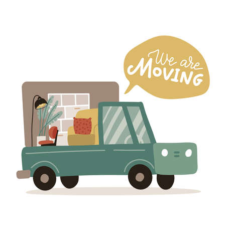 Pickup truck loaded with furniture. We are moving - lettering quote in the bubble. Armchair, lamp and cupboard in truck. Flat hand drawn vector illustration 일러스트