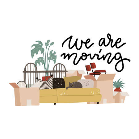 We are moving - lettering text. Moving to new house with home furniture, things and boxes. Concept of relocation, cargo and moving business. Colorful home items in transportation packages. Flat vector 일러스트