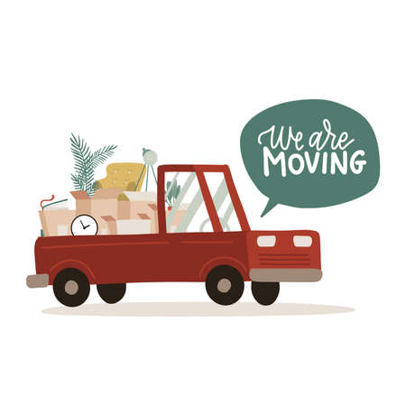 We are Moving. Small Truck with furniture and cardboard boxes. Relocate to new home or office. Side view of van for transportation of goods. Vector falt illustration.