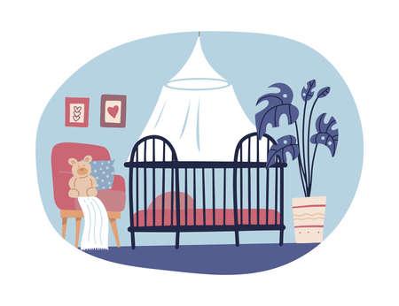 Children s room interior design in hand drawn scandi style. Trendy cute nursery. Children s bed, house plant, armchair, floor lamp and toy. Flat Cartoon vector illustration