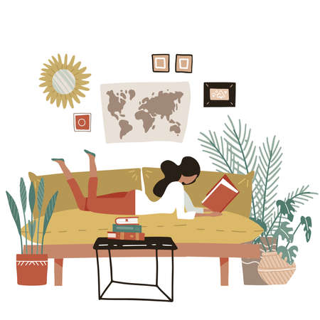 Girl lying on a sofa and reading book. Young woman at home reads magazine. Poster motivating to reading book and studying. For sites, articles, posters. Flat illustration in modern style