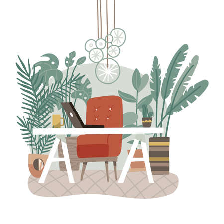 Modern eco gree workplace. Office with concept. Coworking workspace interior design in nordic or Scandinavian style. Workers desks with big soft chair. Many potted plants. Flat vector illustration.