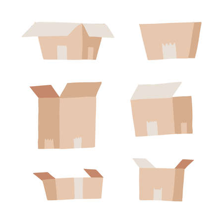 Carton delivery packaging set - open and closed. Collection of paper boxes. Flat vector illustration isolated on a white background 일러스트