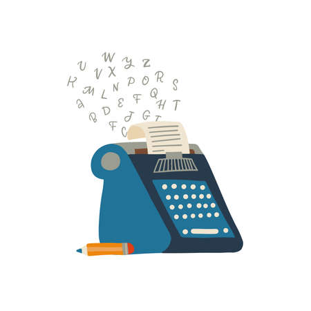 Typewriter icon with paper and flying letters and luing pencil, Flat hand drawn vector illustration 일러스트