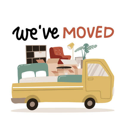 We ve moved - lettering for Delivery service isolated concept. Moving house. Truck for transportation of goods loaded with cardboard boxes. Delivery van with furniture. Vector flat illustration.