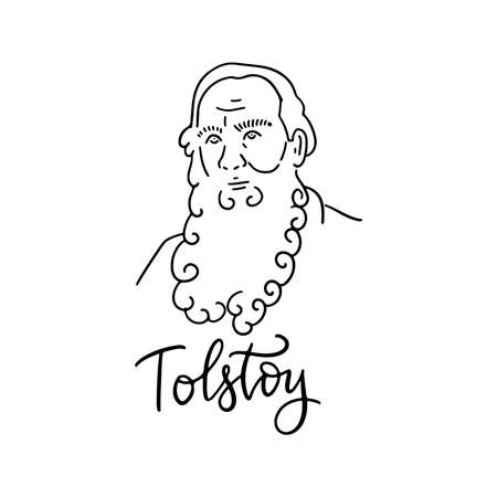Lev Nikolayevich Tolstoy linear sketch portrait isolated on white background for prints, greeting cards and design elements. Vector hand drawn illustration with lettering text.