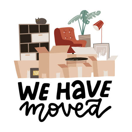 Moving concept with stack of paper boxes. Home Things in cardboard box. Transport company banner woth lettering text - We have moved. Flat hand drawn vector illustration.