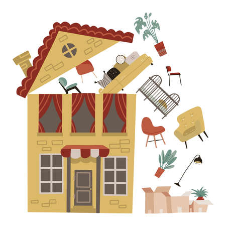 Moving to a new place. A yellow house with some furniture flies out under the open roof to cardboard boxes. Vector falt illustration.