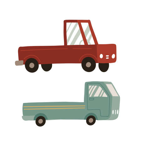 Pickup truck set. Two icons of pickup isolated on white background. Cargo truck for delivery service. Shipping transportation concept. Vintage retro pickup car in flat vector cartoon style. 일러스트
