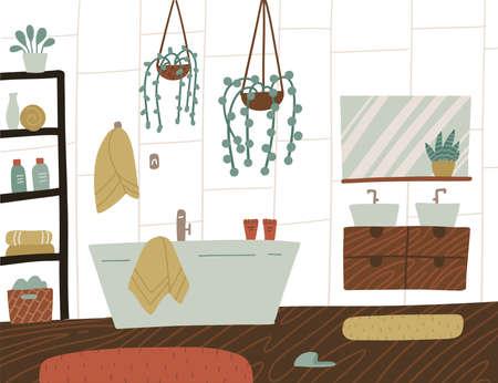 Scandinavian or Nordic style interior of bathroom. Hand drawing cozy bathroom with homeplants. Cartoon vector flat hand drawn illustration.