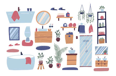 Bathroom furniture set. Big collection of furniture, plumbing, personal hygiene products. Vector flat graphic design cartoon illustration.