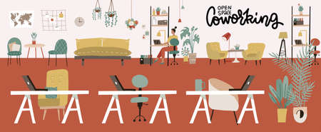 Coworking Office Interior. Modern Coworking open space Center. Creative Green Workplace Environment. Horizontal Banner. Flat Vector Illustration.
