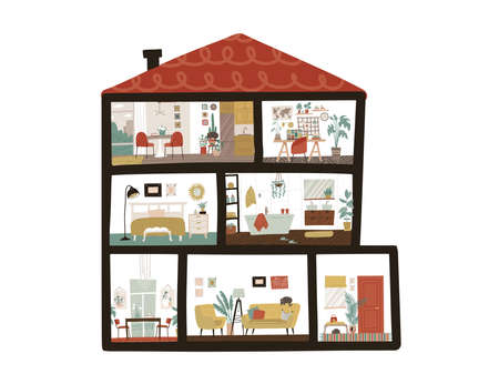 Large Detailed Modern House Interior. Dollhouse in cut. Scandinavian cote style of furniture. Cutaway layered grouped. Flat vector illustration.