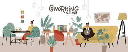 Creative Co-working Center interior. Shared working environment. People working at laptops in the open space office. Modern coworking Workplace. Flat Vector Illustration 일러스트