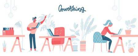 Coworking space with busy people walking and sitting at the table. Comfortable furniture. Business team working, using laptops. Flat design style vector illustration.