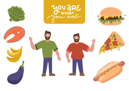 Funny Cartoon Male Characters set - Eating junk food andeating healthy food. Healthy and Unhealthy Lifestyle. Fat and slim men. Vector flat cartoon Illustration