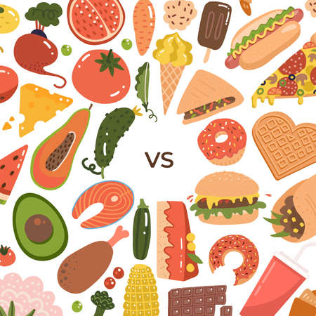 Healthy vs junk food backgroung. Unhealthy lifestyle with soda, hamburger and sugar food. Healthy nutrition includes vegetables and fruits. Flat vector illustration for banner.