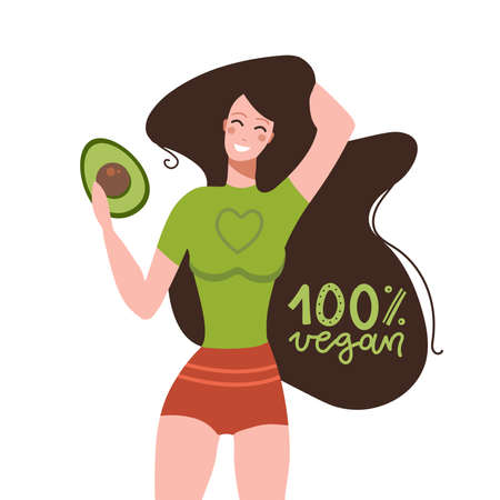 Funny woman with avocado fruit with lettering quote - 100 percent vegan. Healthy food concept. Cartoon colorful vector illustrationt for sticker, card, mug, brochure, poster