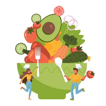 Tiny people standing by huge salad bowl. Small man and woman preparing vegetables to salad mixing bowl. Heathy food concept. Flat vector illustration isolated on white background.