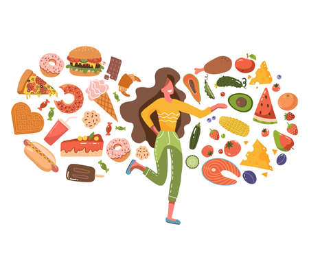 Cute woman confused about choosing healthy or unhealthy foods. Fast food vs healthy food menu. Female character on a diet and healthy food. Flat vector illustration isolated on white background.
